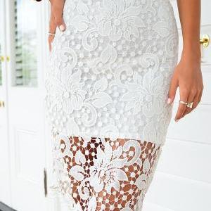 fashion Crochet lace Zipper Skirt M..