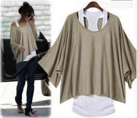 L 071304 Fashion bat sleeve loose T-shirt