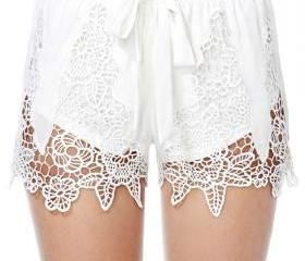 double layer belt white short pants MY0109FY