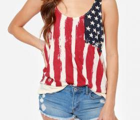 FLAG PRINTED CHIFFON SHIRT AWE
