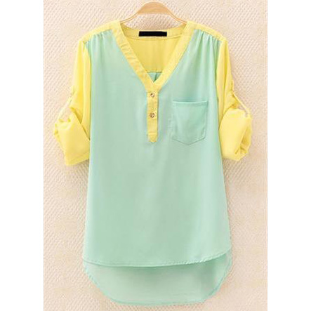 A 081906 temperament long-sleeved shirt contrast color chiffon shirt