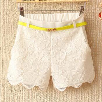 A 082203 Candy -Colored Crochet Stitching Waist Straight Casual Shorts