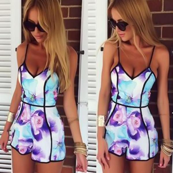 Printed black strapless v-neck sexy fashion jumpsuits A130244